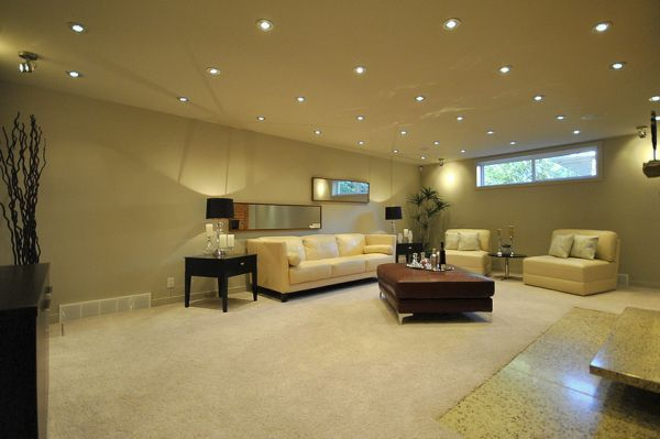 Eliminate Any Dull Corners With Evenly Placed Recessed Lights Decoist Basement Lighting Basement Ceiling Low Ceiling