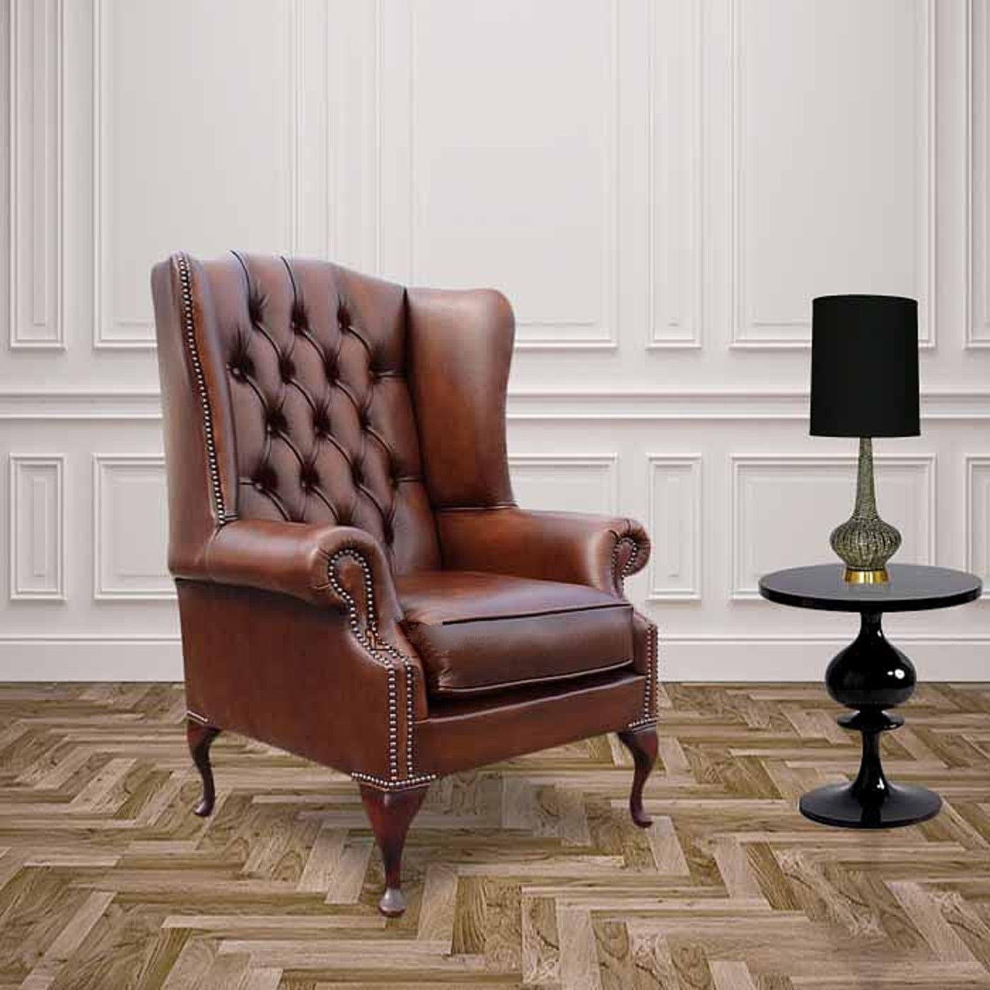 Sessel Vintage Leder Wingback Chair Leder Wingback Chesterfield