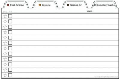 X In Printable Template For Gtd ToDo List  To Do Lists