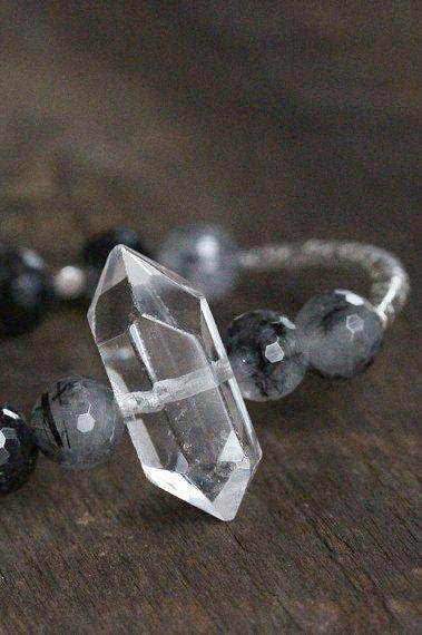 Quartz Crystal Bangle Bracelet Hill Tribe Silver