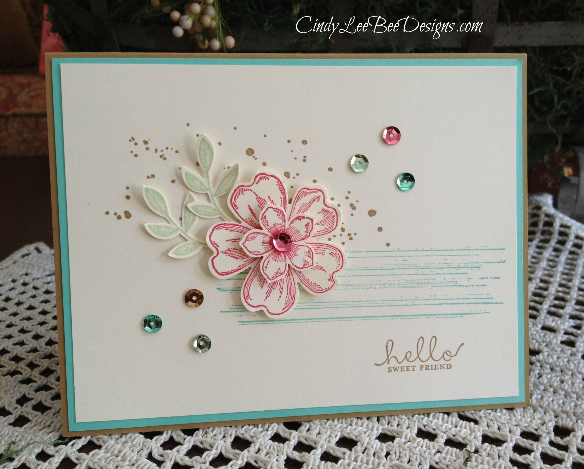 Su Flower Shop With Sequins Floral Cards Cards Handmade Hello Cards