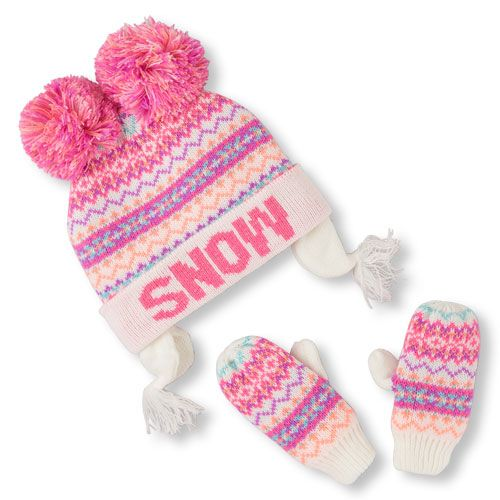 Toddler Girls 'Snow' Neon Fair Isle Print Double Pom Pom Hat And ...
