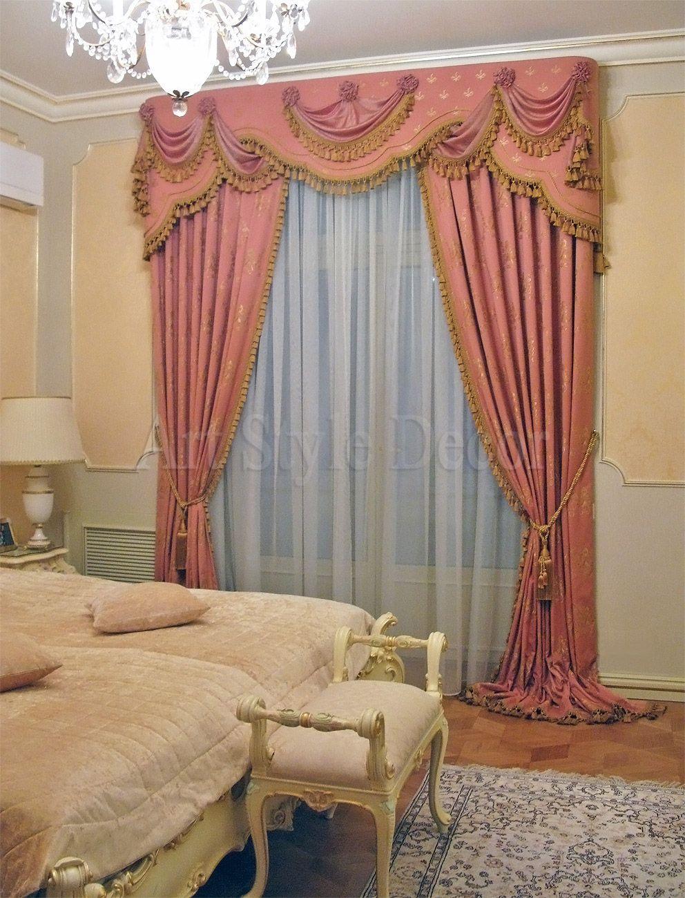 Классические шторы для спальни с ламбрекеном в стиле барокко ...