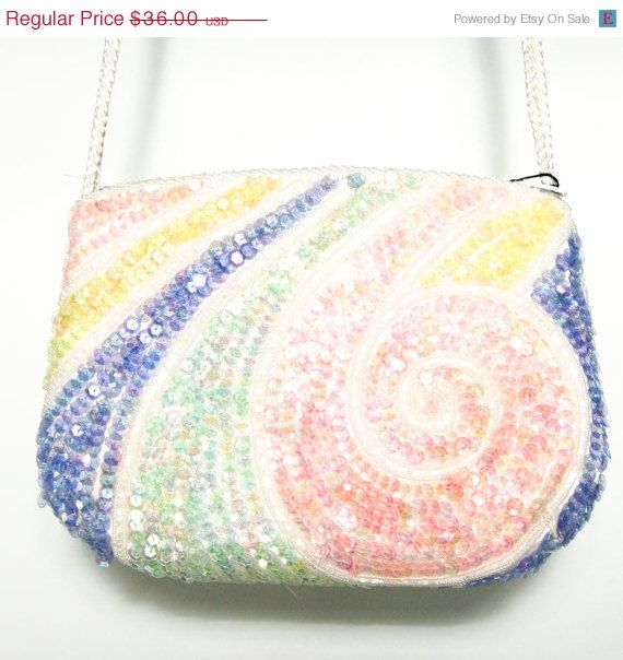 Vintage La Regale Ltd New old Stock Spring Colors Swirl Sequin Beaded Purse Clutch Long Strap