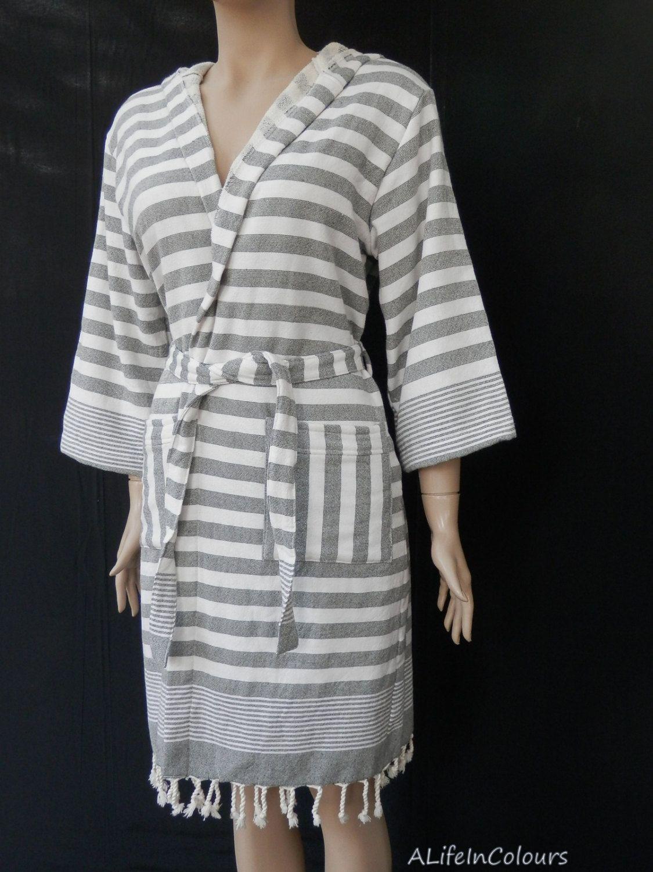 Women\'s or men gray and white striped Turkish soft cotton bathrobe ...