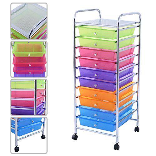 Kaysev 10 Drawer Rolling Storage Organizer Cart Multipurpose