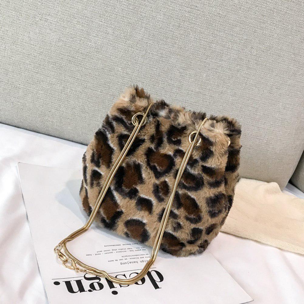 Fashion Soft Plush Leopard Print Metal Strap Woman Party Crossbody Bucket  Bag For Women Shoulder Bag 3c62a4ec854f