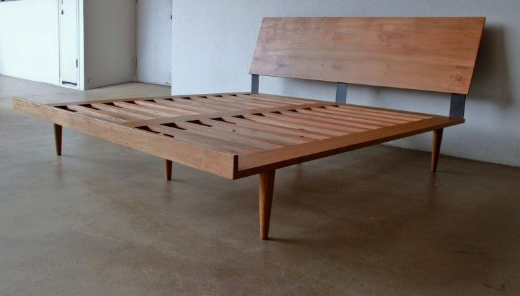 Mid Century California King Bed Frame With Tapered Solid Wood Legs