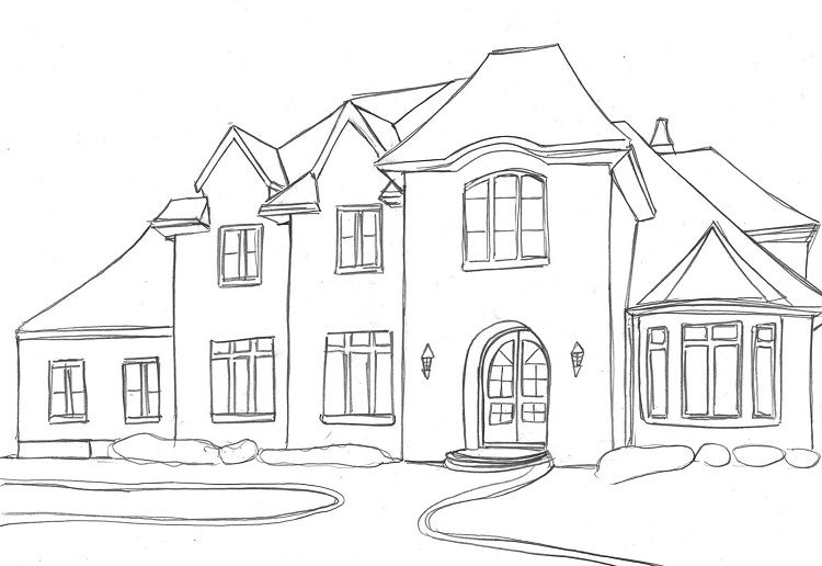 Modern House Coloring Pages House Sketch Dream House Drawing House Drawing