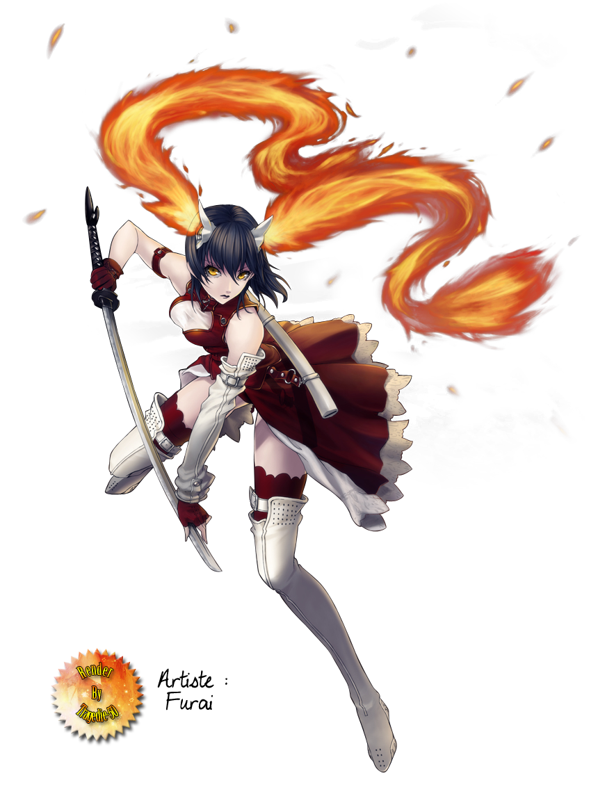 Render girl fille guerriere epee sabre katana flammes tenue rouge n porte quoi - Dessin de sabre ...