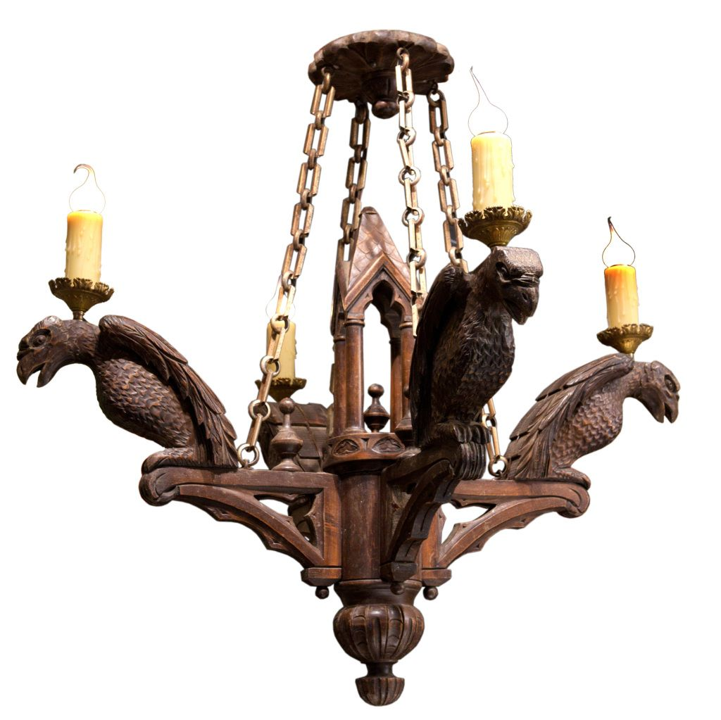Neo gothic carved wood chandelier with 4 lights carved wood neo gothic carved wood chandelier with 4 lights arubaitofo Gallery