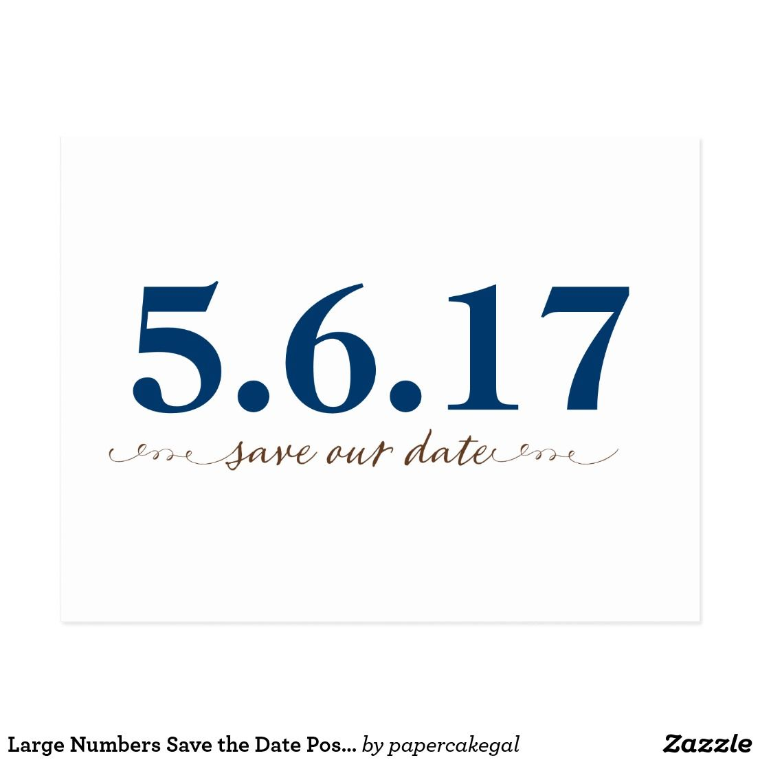 large numbers save the date postcard update with your date wording