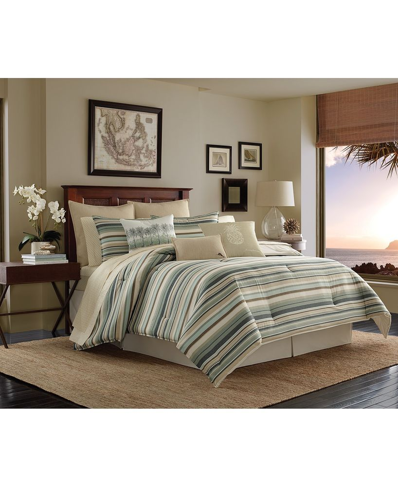 Tommy Bahama Home Canvas Cotton Stripe Evergreen King