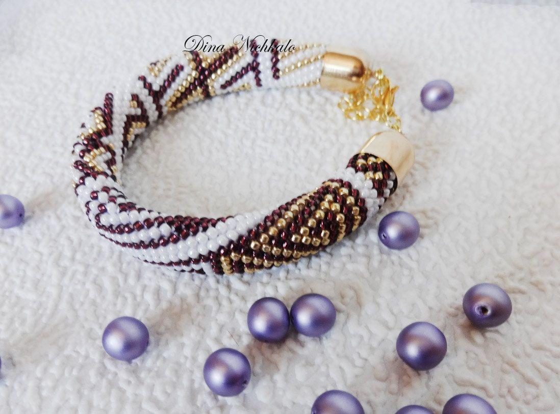 Bead crochet rope bracelet unique multicolor bead bracelet wrap