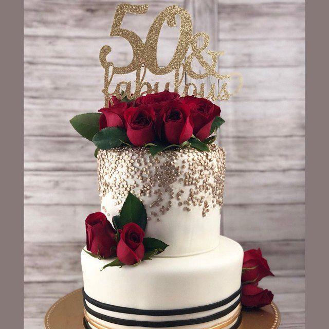 Fabulous 50 Cake Topper: 50 & Fabulous Cake Topper, 50th Birthday Cake Ideas, Gold