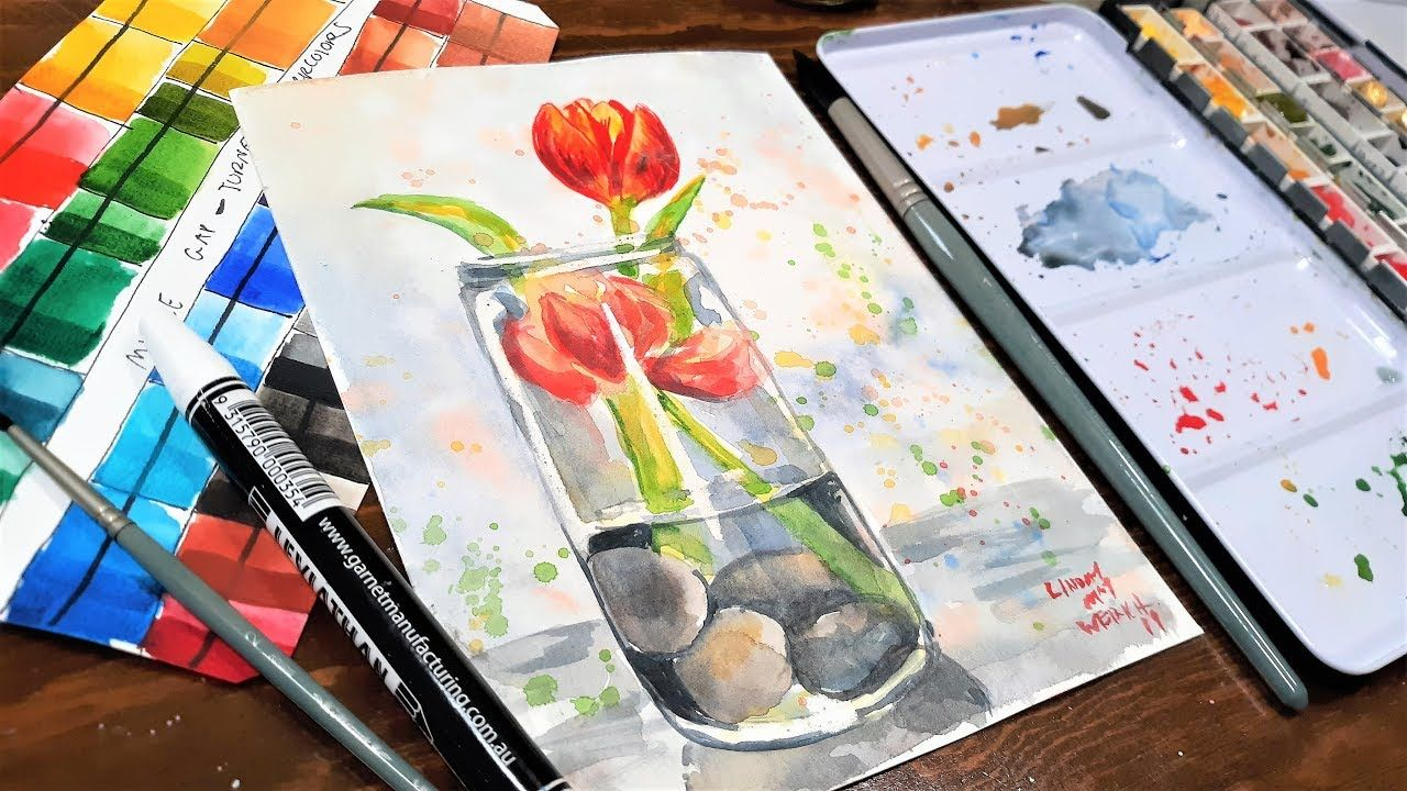 Loose Tulips Easy Limited Palette Watercolor Tutorial Youtube