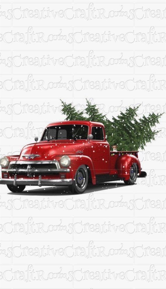 Red Truck With Christmas Trees Instant Download For Etsy In 2021 Christmas Tree Truck Red Christmas Tree Red Truck
