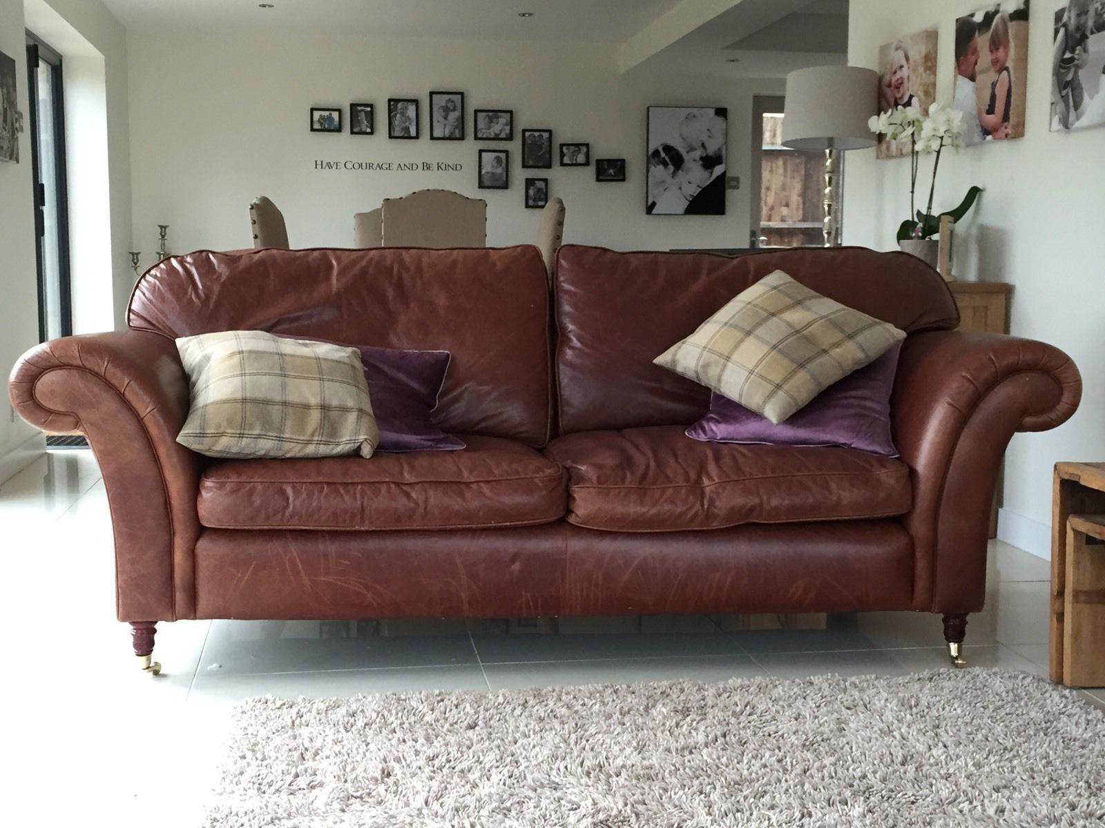 Laura Ashley Sofas Mortimer Large Sofa Brown Vintage Leather 4