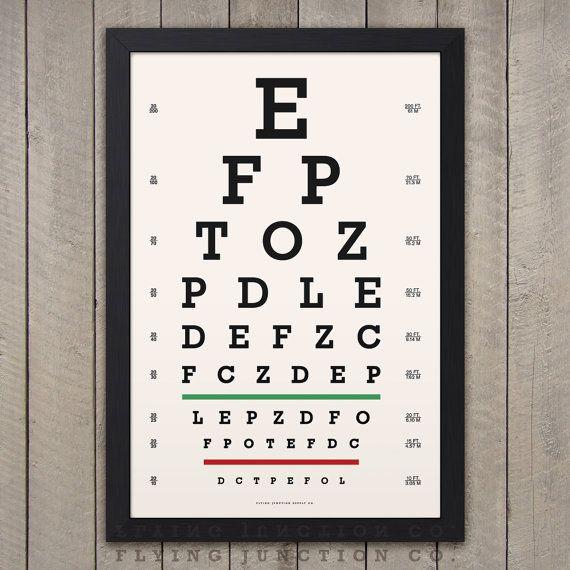 Eye Chart Print Classic Snellen Vintage Look Etsy In 2020 Eye Chart Printable Chart Eye Chart Art