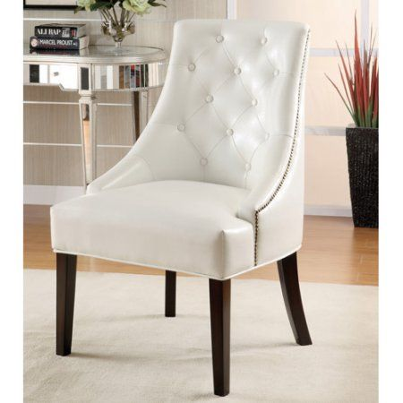 Coaster Furniture 900283 Upholstered Accent Chair With Tufted Button In White  Faux Leather