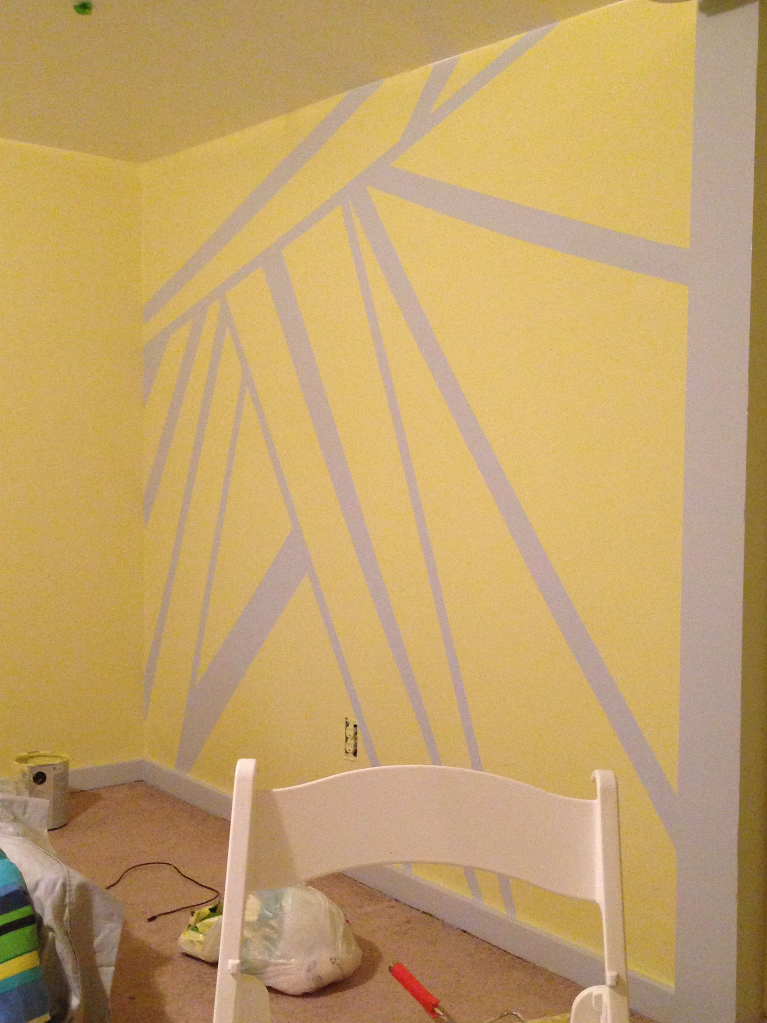 Yellow and gray bedroom. I painted the wall gray, frog taped it, and ...