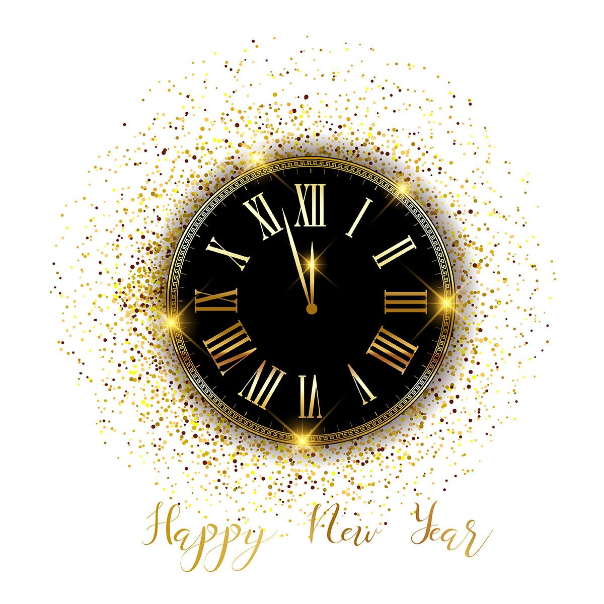 Gold Confetti Happy New Year Background Vector Choose From Thousands Of Free Vectors Clip Art Happy New Year Background New Year Clock Happy New Year Design