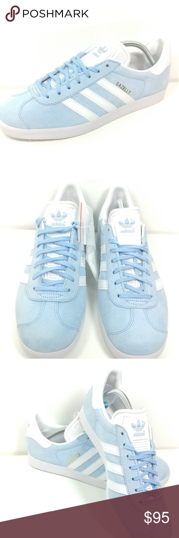 the latest 58424 ac388 Adidas Gazelle sky pale bluegold BB5481 NEW Vintage swagger, suede  construction meet
