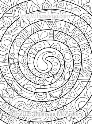 Groovy Abstract Spiral Coloring Page By Thaneeya Mcardle