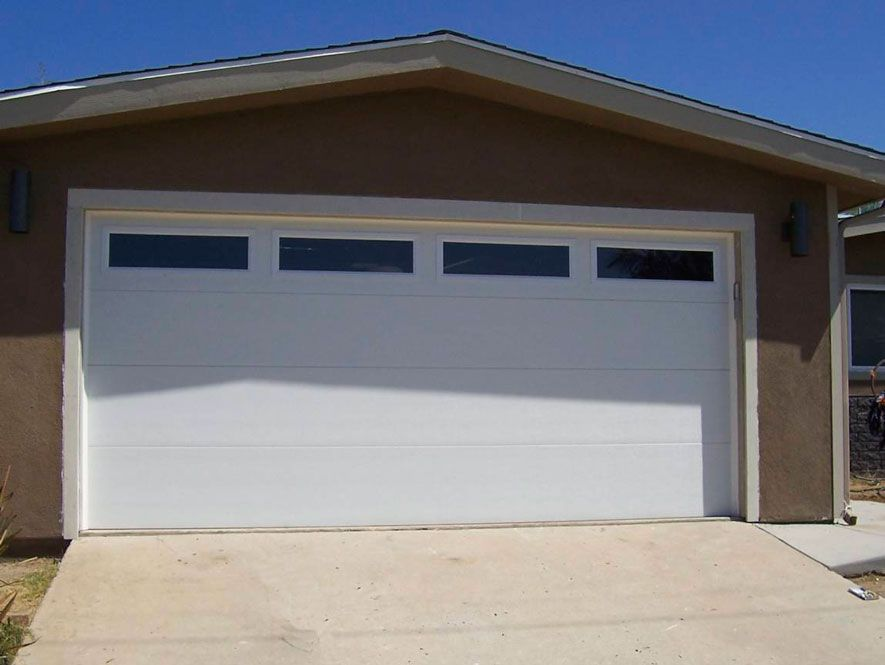 Clopay flush panel with 4 plain insulated windows up for Clopay steel garage doors