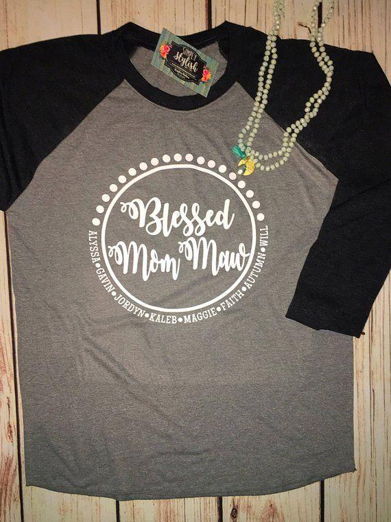 a66f0f8da Blessed Grandma Shirt Custom Tee for Grandmother Women Graphic Tops Tee  Personalized Grandma Gift from Grand Kids