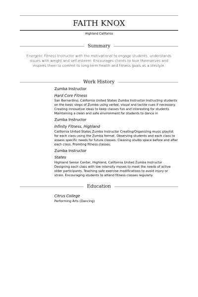 sample resume zumba instructor resume examples pinterest zumba