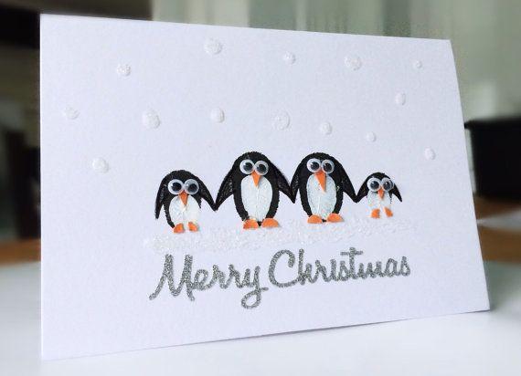 Carte de Noël fait main famille pingouin   A6 (avec images