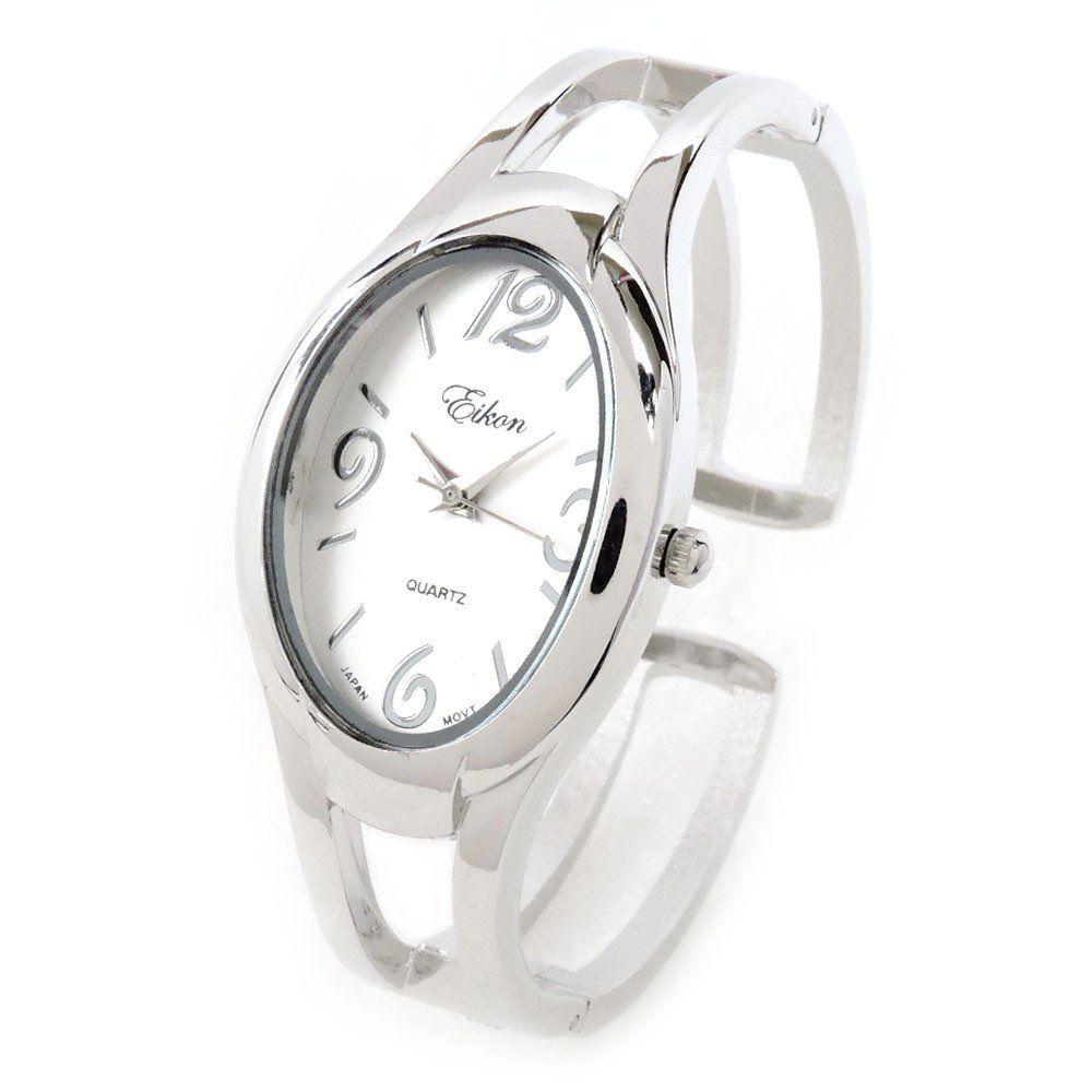 82b96f43a Silver Tone Large Oval Face Women's Bangle Cuff Watch   Bangle Cuff ...