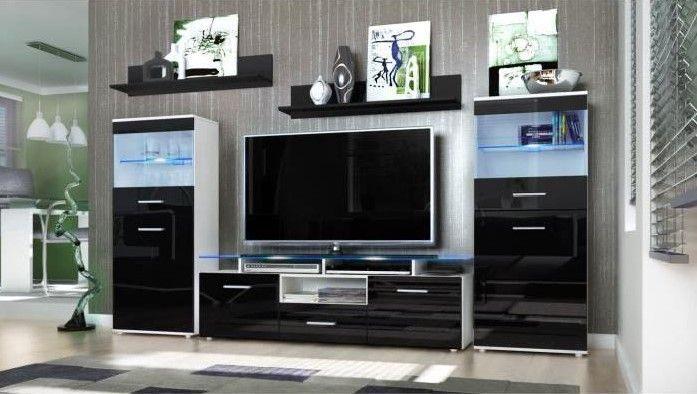 Ensemble 5 meubles TV mural blanc et noir 252cm pas cher prix Meuble