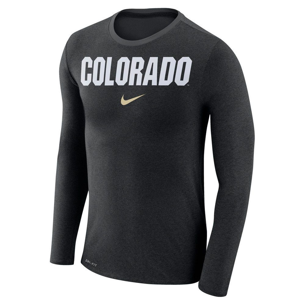 cheap for discount 4c0c5 bbc40 Men s Nike Colorado Buffaloes Marled Long-Sleeve Dri-FIT Tee, Size  Medium,  Black