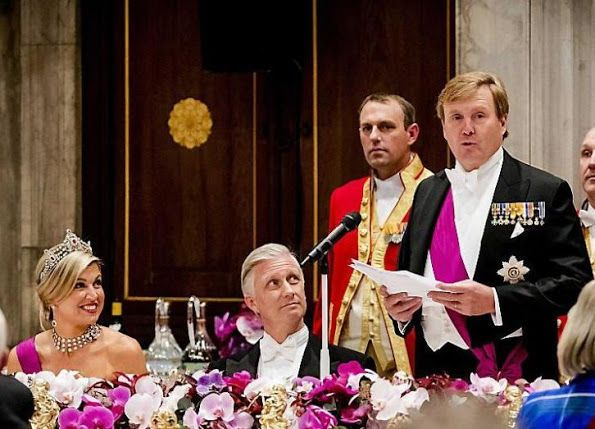 November 28, 2016, King Willem-Alexander and Queen Maxima of The Netherlands, Queen Mathilde and King Philippe, former Queen Beatrix, Professor Pieter van Vollenhoven, Princess Margriet, Prince Constantijn and his wife Princess Laurentien attended state gala dinner held at Royal Palace in Amsterdam.