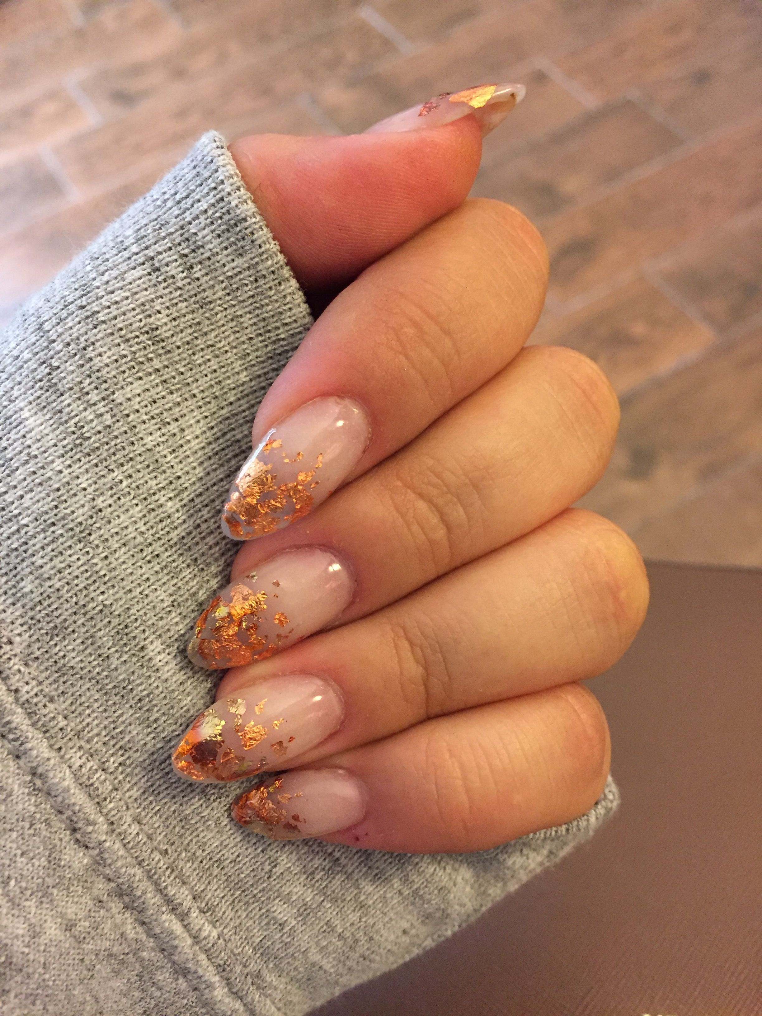 Copper Foil French Tip Acrylic Nail Design Almond Shape Nail Photo Without Flash French Tip Acrylic Nails Almond Shape Nails Almond Acrylic Nails