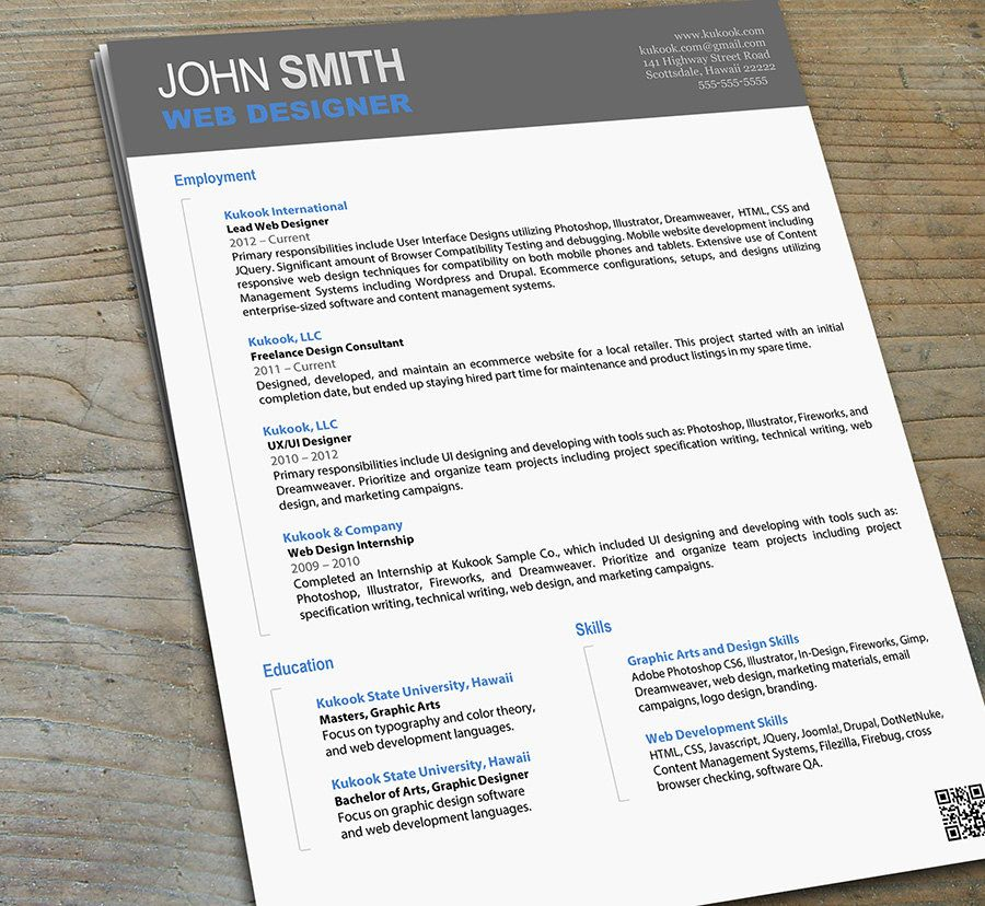 Artistic Resume For Designers  Modern Resume Template  Usd