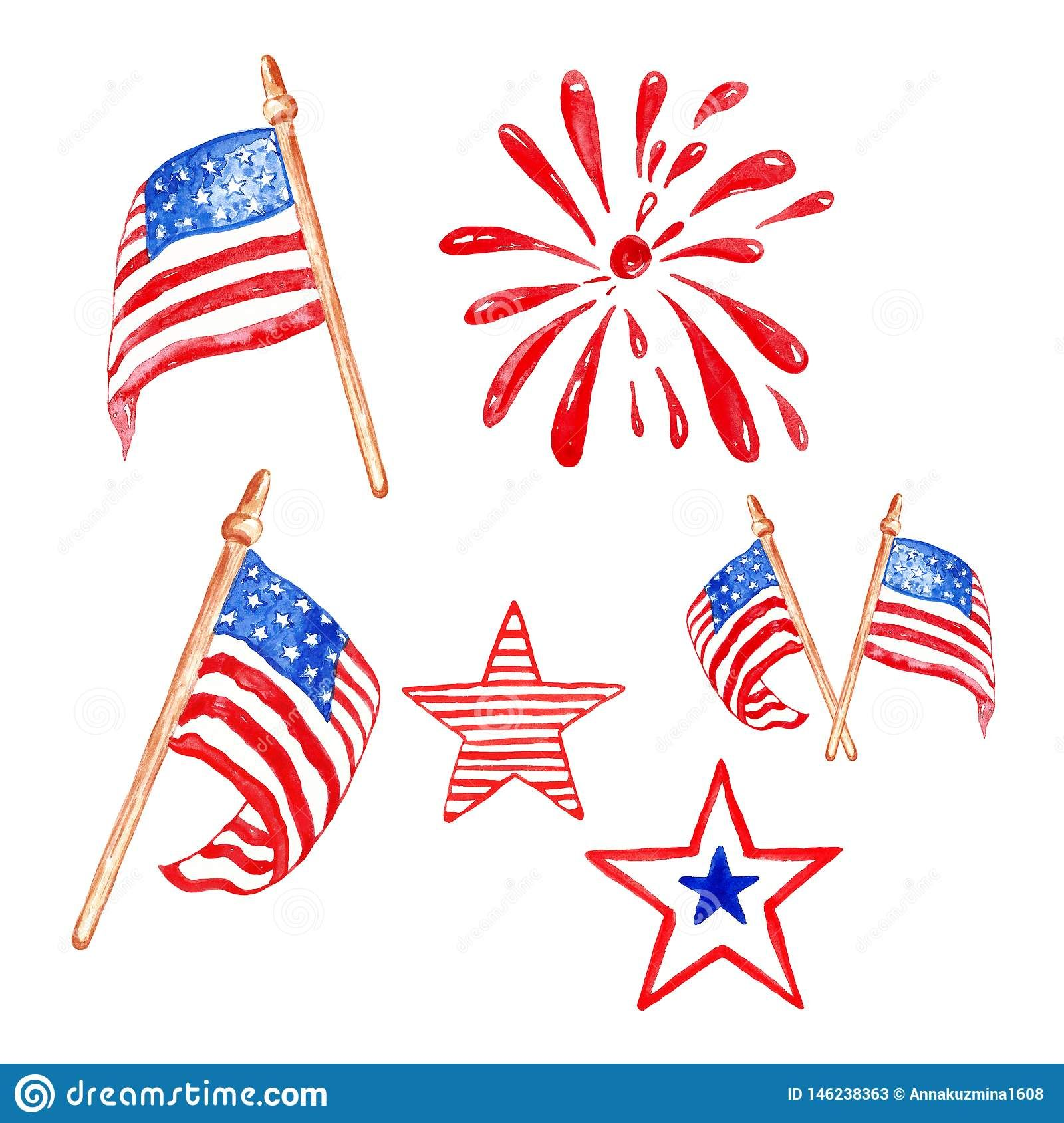 Memorial Day Watercolor Set With Us Flags Stars And Saluting Firework Isolated On White Background Memorial Day Greeting Cards Handmade American Flag Banner