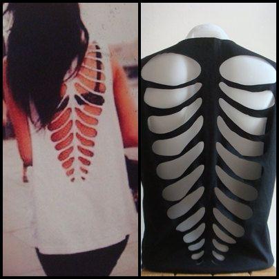 Diy skeleton cut out shirt