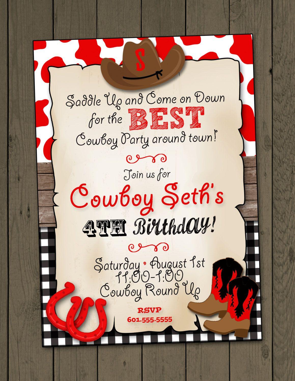 cowboy birthday party invitation cowboy