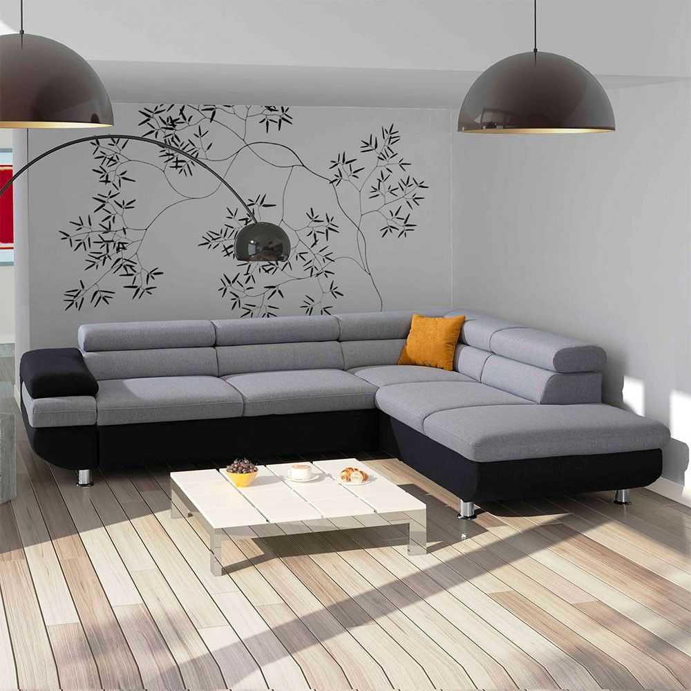 Ecksofa Travorna In Grau Schwarz Mit Schlaffunktion In 2020 Modern Couch Sectional Sofa Couch