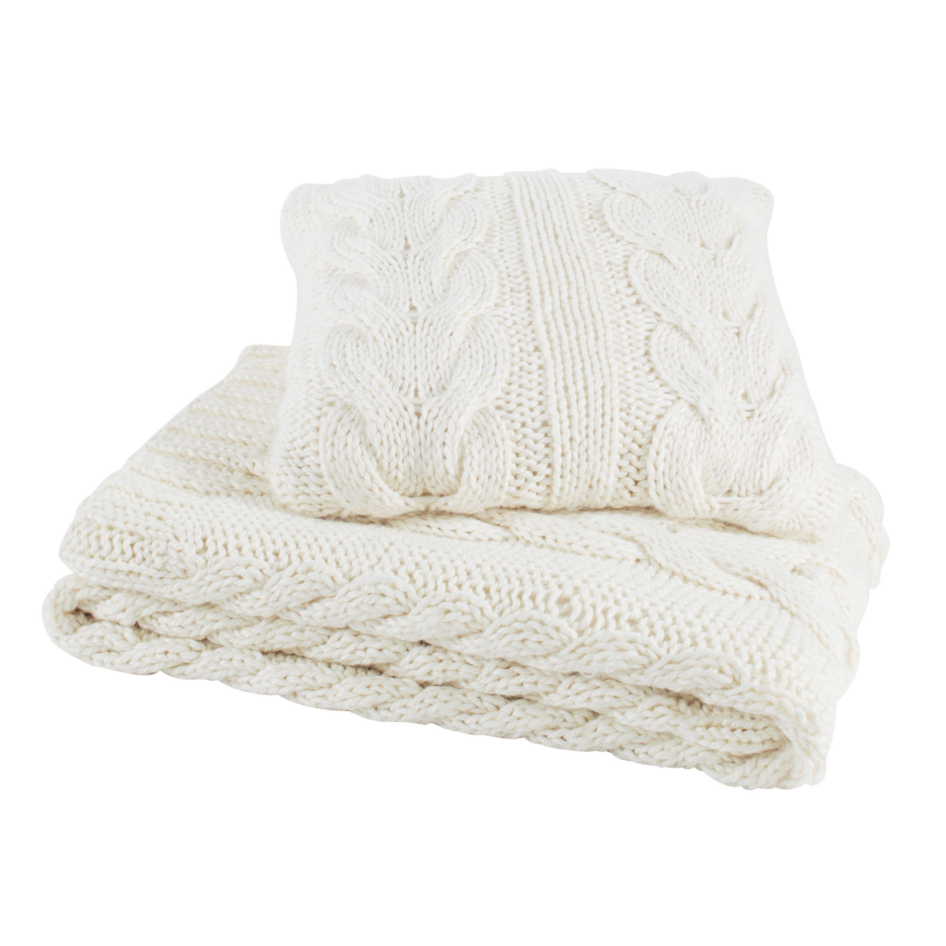 Coussin tricot en tissu blanc cass 50 x 50 cm oslo maisons du monde d coration int rieur - Maison du tissu ...