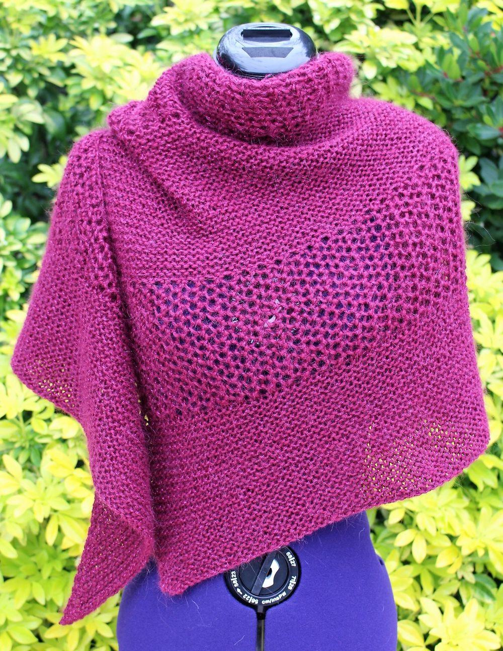 Châle fait main, étole tricot ajouré, poncho laine alpaga, cape ...