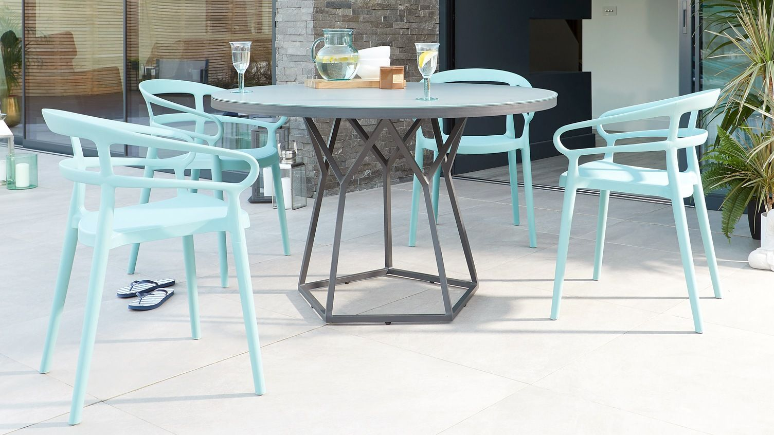 Porto Round Grey And Glass And Alma Dining Set With Images Outdoor Dining Table Dining Table Outdoor Dining Chairs