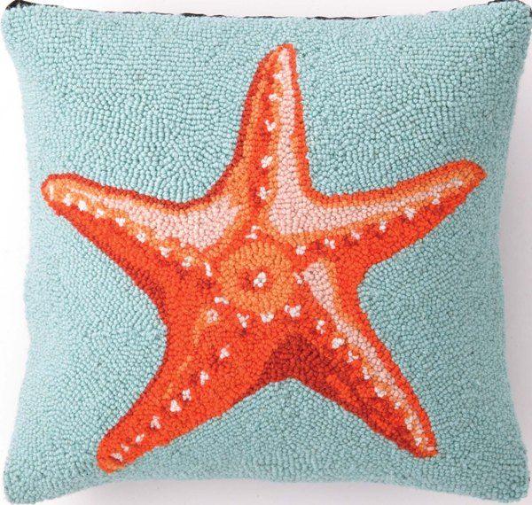 Aqua - Starfish Hook Pillow $49