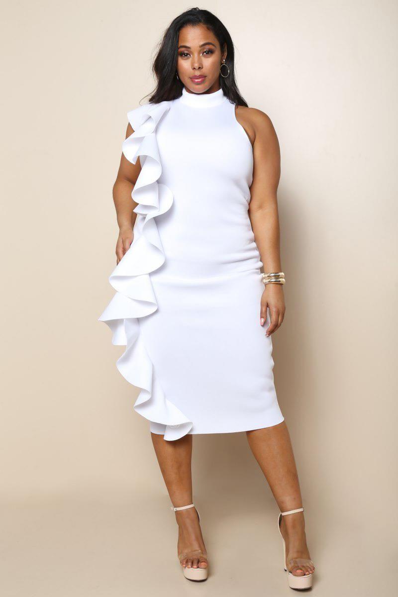 eb5b7ee690d Plus Size Scuba Ruffle Dress Junior Outfits