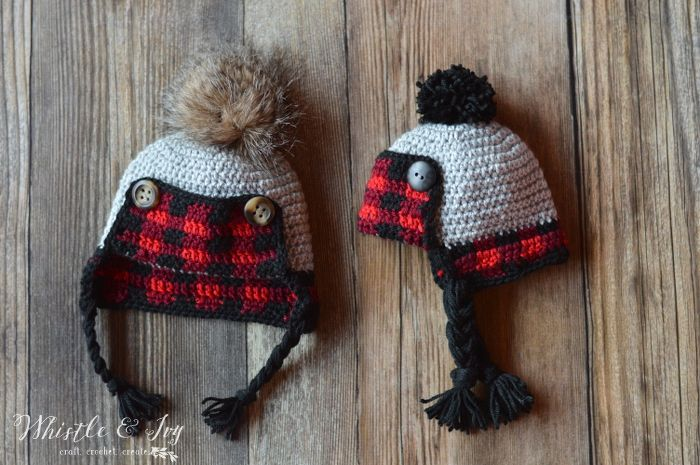 Crochet Baby Plaid Trapper Hat | Pinterest