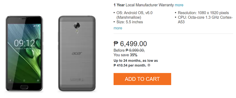 Sale Alert Acer Liquid Z6 Plus Is Priced At Php 6499 Acer Samsung Galaxy Phone Sale