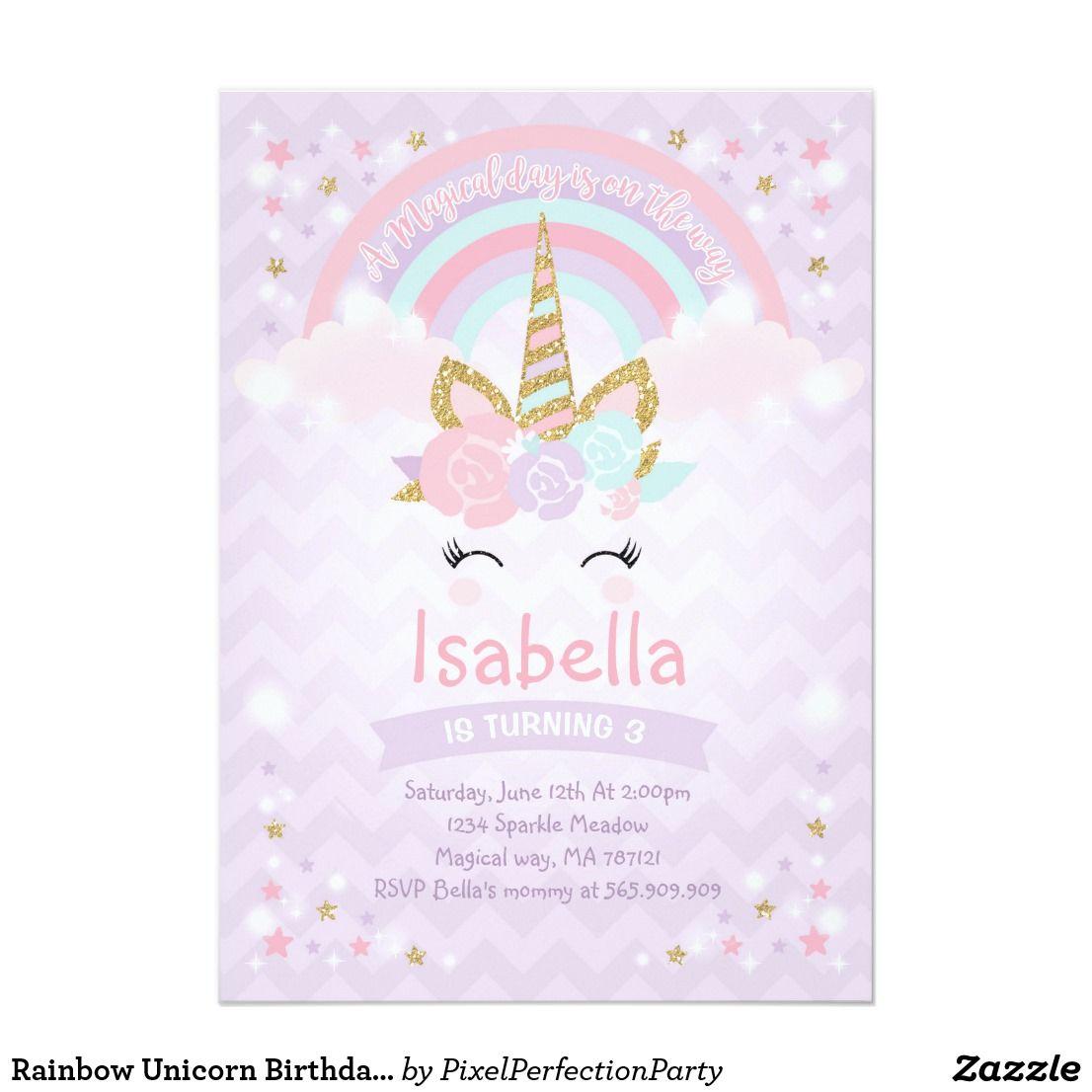 rainbow unicorn birthday invitation purple gold